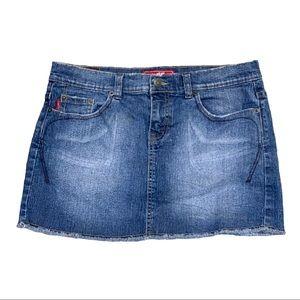TYTE JEANS mini skirt embroidered pocket raw hem 9